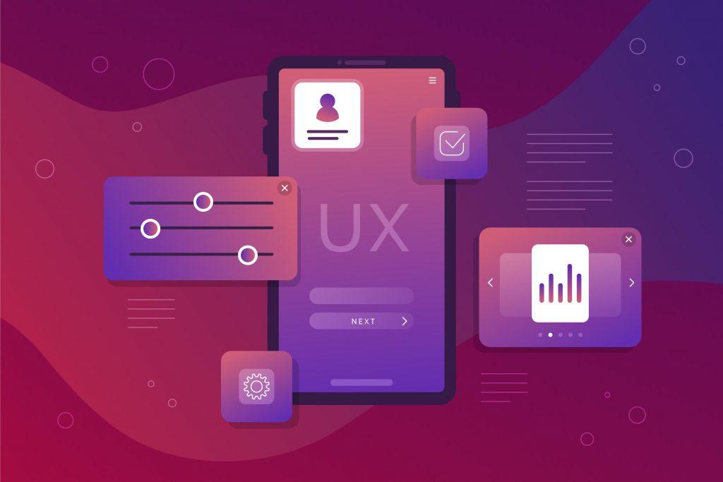 Experiencia de usuario en diferentes dispositivos, color morado y degradados